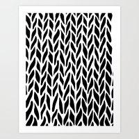 Hand Knitted Black on White Art Print