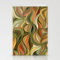 Boho Green & Red Wave Pattern Stationery Cards