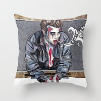 Zombie James Dean Throw Pillow