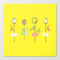 Rosewall (on yellow) Canvas Print