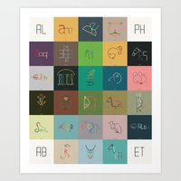 animals typographic alphabet Art Print