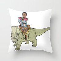 A Boy and his Dinosaur Throw Pillow