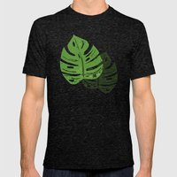 Linocut Monstera Leaf Pattern Mens Fitted Tee Tri-Black SMALL