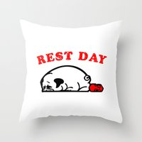 Rest Day Pug Throw Pillow