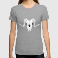 Ram Skull Womens Fitted Tee Tri-Grey SMALL