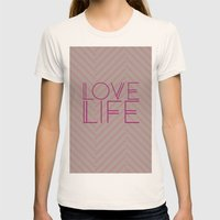 LOVE LIFE Womens Fitted Tee Natural SMALL