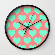 Hearts of Love Coral Mint  Wall Clock