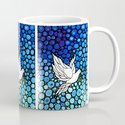 Peaceful Journey - Vibrant white dove by Labor Of Love artist Sharon Cummings. Mug