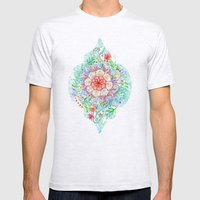 Messy Boho Floral in Rainbow Hues Mens Fitted Tee Ash Grey SMALL