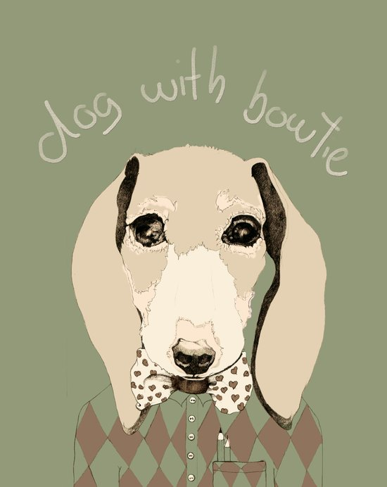 dog with bowtie Art Print