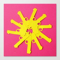 Gun Flower On Pink Canvas Print