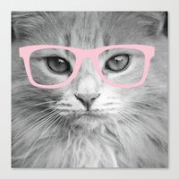 Hippest Cat 2 - Pink Gla… Canvas Print