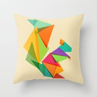 Fractal geometric Squirrel Throw Pillow