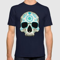 Blue Decorated Skull Mens Fitted Tee Navy SMALL