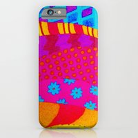 iPhone & iPod Case featuring THE HIPSTER - Cool Colorful Vibrant Abstract Mixed Media Trendy Fabric Patterns Illustration by EbiEmporium