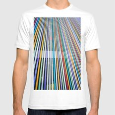 Colored Lines On The Wall SMALL White Mens Fitted Tee