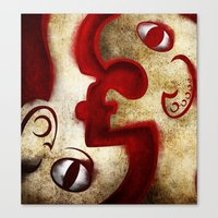 Red Digital Engraving Twin Faces Canvas Print