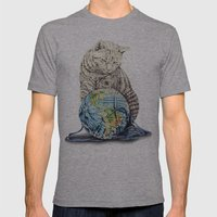 In which our feline deity shows restraint  Mens Fitted Tee Athletic Grey SMALL