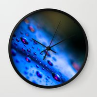 Rain Drops on Blue Sunglasses Wall Clock