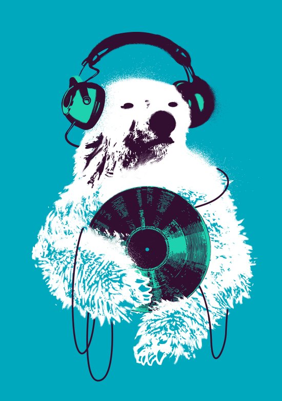 Record Bear Art Print