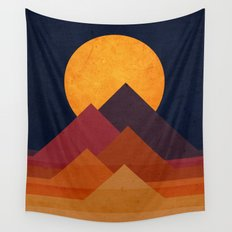 Full moon and pyramid Wall Tapestry