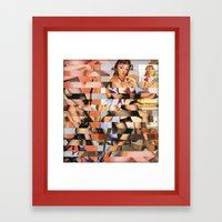 Glitch Pin-Up Redux: Whi… Framed Art Print