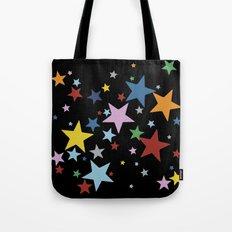 Multi Stars Black Tote Bag