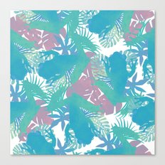 Tropical Blue Frog Pattern Canvas Print