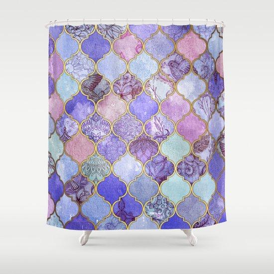 Royal Purple Mauve Indigo Decorative Moroccan Tile Pattern Shower Curtain By Micklyn Society6
