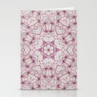 Vintage Raspberry Pink and Paris Gray Earth Mandala with Hearts Stationery Cards