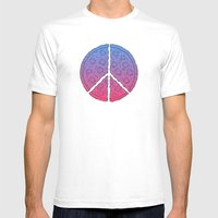 Peace & Pizza Mens Fitted Tee White SMALL