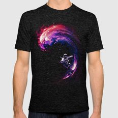 Space Surfing Mens Fitted Tee Tri-Black SMALL