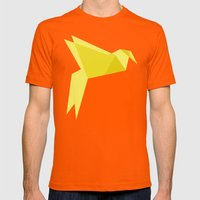 Origami Bird Mens Fitted Tee Orange SMALL
