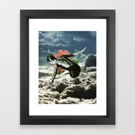 Framed Art Print featuring Lost In The Clouds by TRASH RIOT