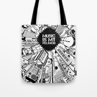 Music is my religion. Tote Bag