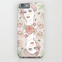 Woman with flowers and beetles iPhone 6 Slim Case