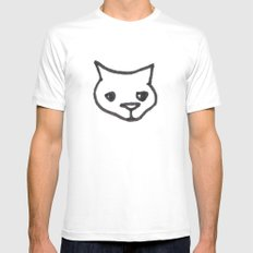 Concerned Cat SMALL White Mens Fitted Tee