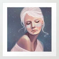 Her Cheeks Glowed with the Constellations of Lovers Art Print
