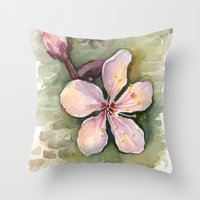 Cherry Blossom Watercolo… Throw Pillow