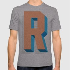 Letter R Mens Fitted Tee Athletic Grey SMALL