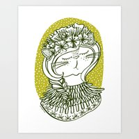 Spring Cat Lady  Art Print