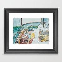 man and dog on sailboat Framed Art Print