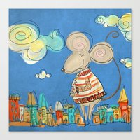 Urban Mouse - in light blue Canvas Print