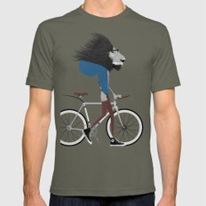 Hipster Lion and his Bicycle Mens Fitted Tee Lieutenant SMALL
