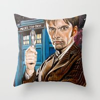 The Tenth Doctor and His TARDIS Throw Pillow