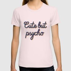 Cute but Psycho Womens Fitted Tee Light Pink SMALL