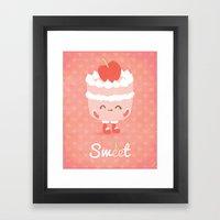 Sweet Cherry Cake Framed Art Print