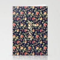Vintage Elegant Pink and Red Roses Floral Pattern Stationery Cards