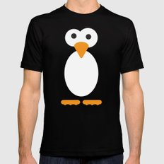 Minimal Penguin Mens Fitted Tee Black SMALL