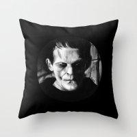 THE MONSTER of FRANKENSTEIN - Boris Karloff Throw Pillow